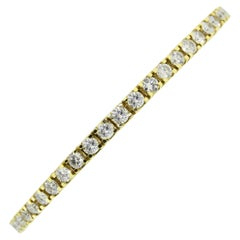 14 Karat Yellow Gold Round Brilliant Diamond Tennis Bracelet
