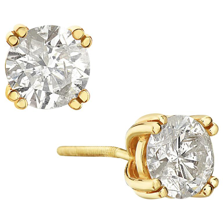 14 Karat Yellow Gold Round Brilliant Stud Earrings For Sale