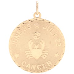 14 Karat Yellow Gold Round Cancer Zodiac Charm / Pendant