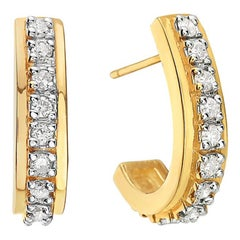 14 Karat Yellow Gold Round Diamond Hoop Earrings