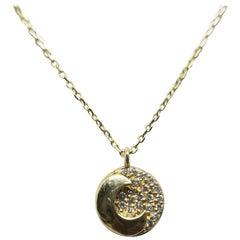 14 Karat Yellow Gold Round Diamond Pendant