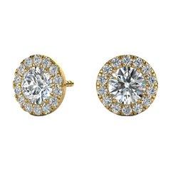 14 Karat Yellow Gold Round Halo Diamond Earrings '1 Carat'