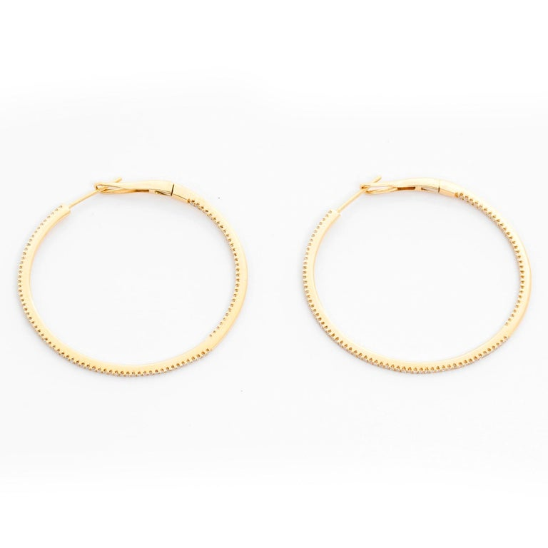 14 Karat Yellow Gold Round Inside Out Hoops For Sale 1