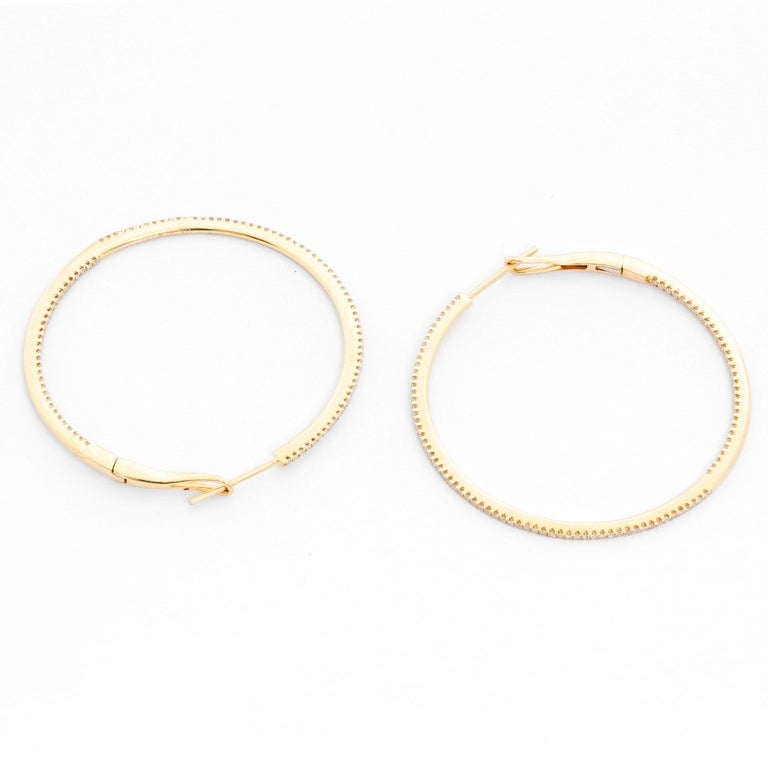 14 Karat Yellow Gold Round Inside Out Hoops For Sale 2