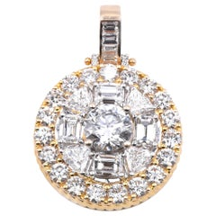 14 Karat Yellow Gold Round Mosaic Set Diamond Pendant