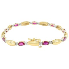 14 Karat Yellow Gold Ruby 3 Carat Diamond 0.18 Carat Bracelet