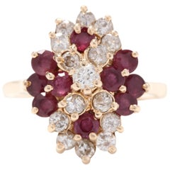 14 Karat Yellow Gold, Ruby and Diamond Cluster Statement Ring