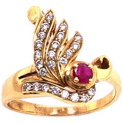 14 Karat Yellow Gold Ruby and Diamond Contemporary Ring