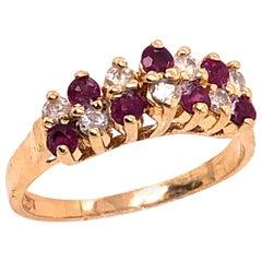 14 Karat Yellow Gold Ruby and Diamond Fashion Ring
