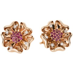 14 Karat Yellow Gold Ruby and Diamond Flower Earclips