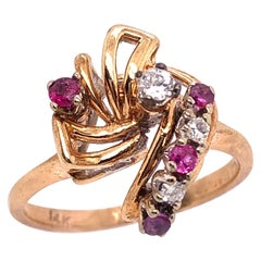 14 Karat Yellow Gold Ruby and Diamond Freeform Contemporary Ring