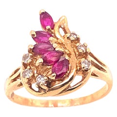 14 Karat Yellow Gold Ruby and Diamond Freeform Ring