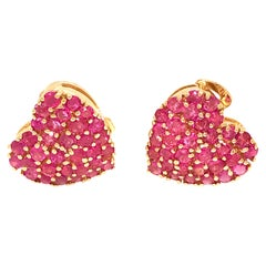 14 Karat Yellow Gold Ruby and Diamond Heart Earrings