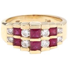 14 Karat Yellow Gold, Ruby and Diamond Pyramid Ring