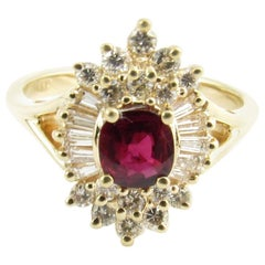 14 Karat Yellow Gold Ruby and Diamond Ring