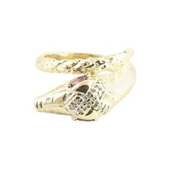 14 Karat Yellow Gold Ruby and Diamond Snake Ring