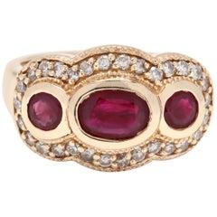 14 Karat Yellow Gold, Ruby and Diamond Statement Ring, July Birthstone