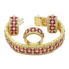 14 Karat Yellow Gold Ruby and Diamond Trio Set Ring, Earrings and Bracelet Set
