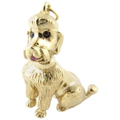 14 Karat Yellow Gold, Ruby and Sapphire Poodle Charm