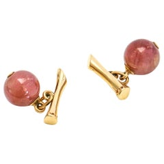 14 Karat Yellow Gold Ruby Beads Cufflinks