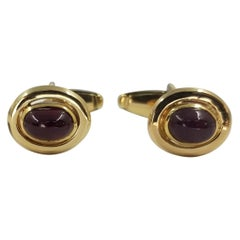 14 Karat Yellow Gold and Ruby Cabochon Cufflinks
