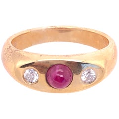 14 Karat Yellow Gold Ruby Cabochon Solitaire With Diamond Accents Ring