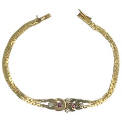 14 Karat Yellow Gold Ruby Diamond Bracelet