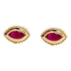 14 Karat Yellow Gold Ruby Earrings