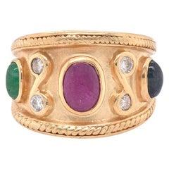 14 Karat Yellow Gold Ruby, Emerald, Sapphire, and Diamond Ring