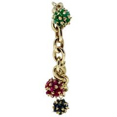 14 Karat Yellow Gold Ruby Emerald Sapphire Cluster Bracelet