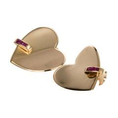14 Karat Yellow Gold & Ruby Heart Shaped Ear Clips