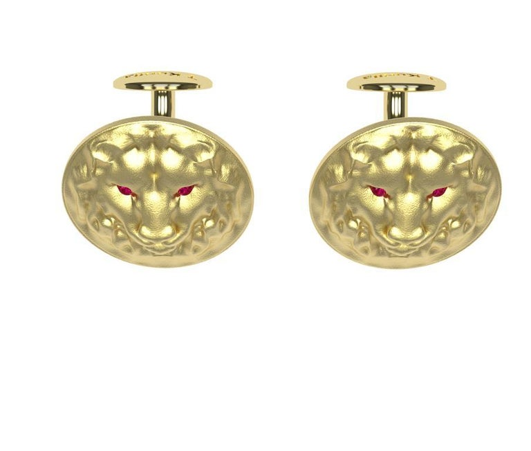 Contemporary 14 Karat Yellow Gold Ruby Lion Cufflinks For Sale