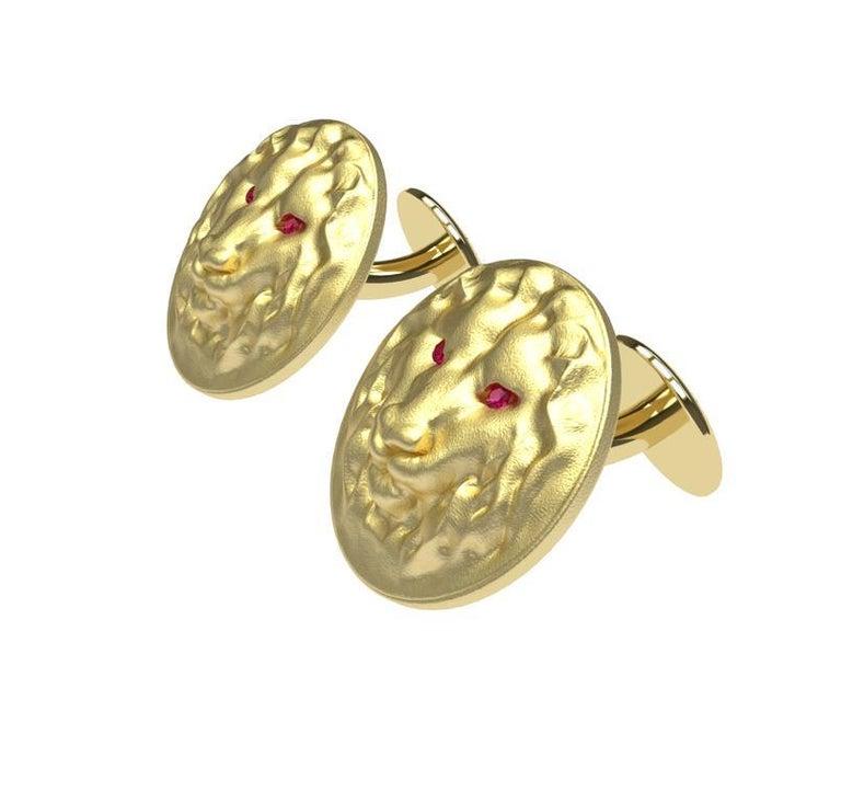 Round Cut 14 Karat Yellow Gold Ruby Lion Cufflinks For Sale