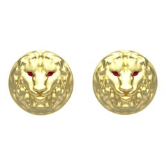 14k Yellow Gold Ruby Lion Cufflinks