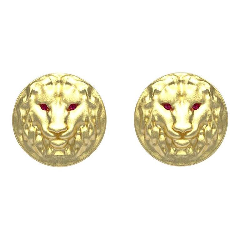 14 Karat Yellow Gold Ruby Lion Cufflinks For Sale