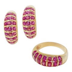 14 Karat Yellow Gold Ruby Ring and Hoop Earrings Set