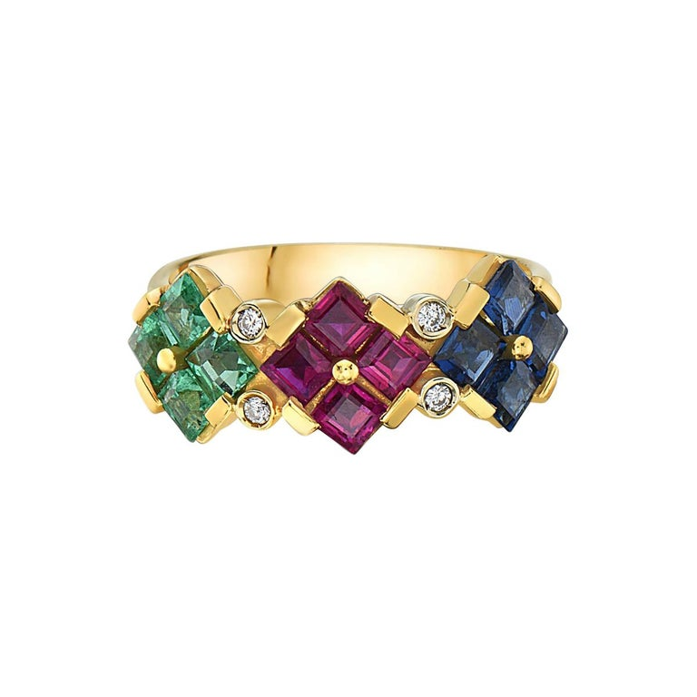 14 Karat Yellow Gold Ruby Sapphire Emerald and Diamond Ring For Sale