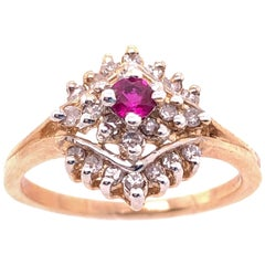 14 Karat Yellow Gold Ruby Solitaire with Diamond Cluster Ring