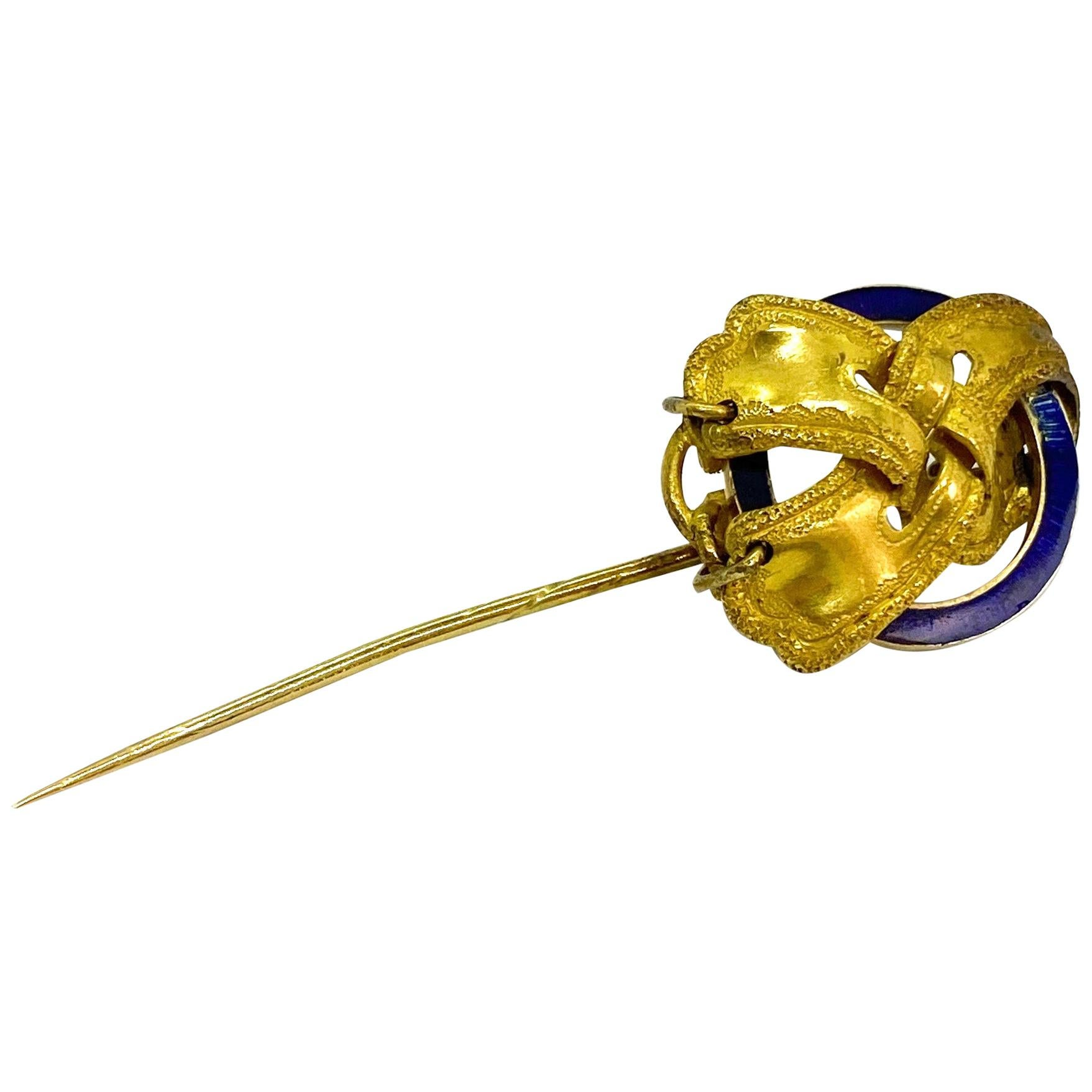 14 Karat Yellow Gold Russia Enamel Hat Needle Stick Pin