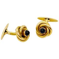 14 Karat Yellow Gold Russia Sapphire Cufflinks