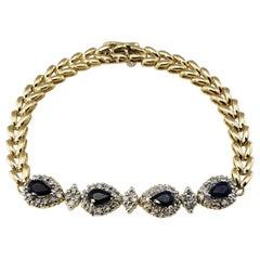 14 Karat Yellow Gold Sapphire and Diamond Bracelet