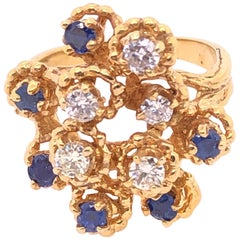 14 Karat Yellow Gold Sapphire and Diamond Cluster Ring
