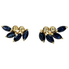 14 Karat Yellow Gold Sapphire and Diamond Ear Crawlers