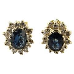 14 Karat Yellow Gold Sapphire and Diamond Earrings