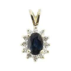 14 Karat Yellow Gold Sapphire and Diamond Pendant
