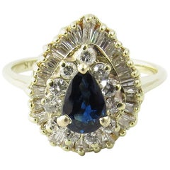 14 Karat Yellow Gold Sapphire and Diamond Ring