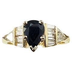 14 Karat Yellow Gold Sapphire and Diamond Ring GAI Certified