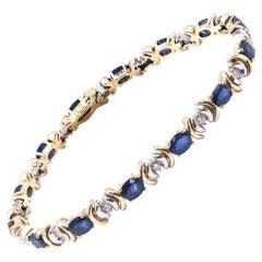 14 Karat Yellow Gold Sapphire and Diamond Tennis Bracelet