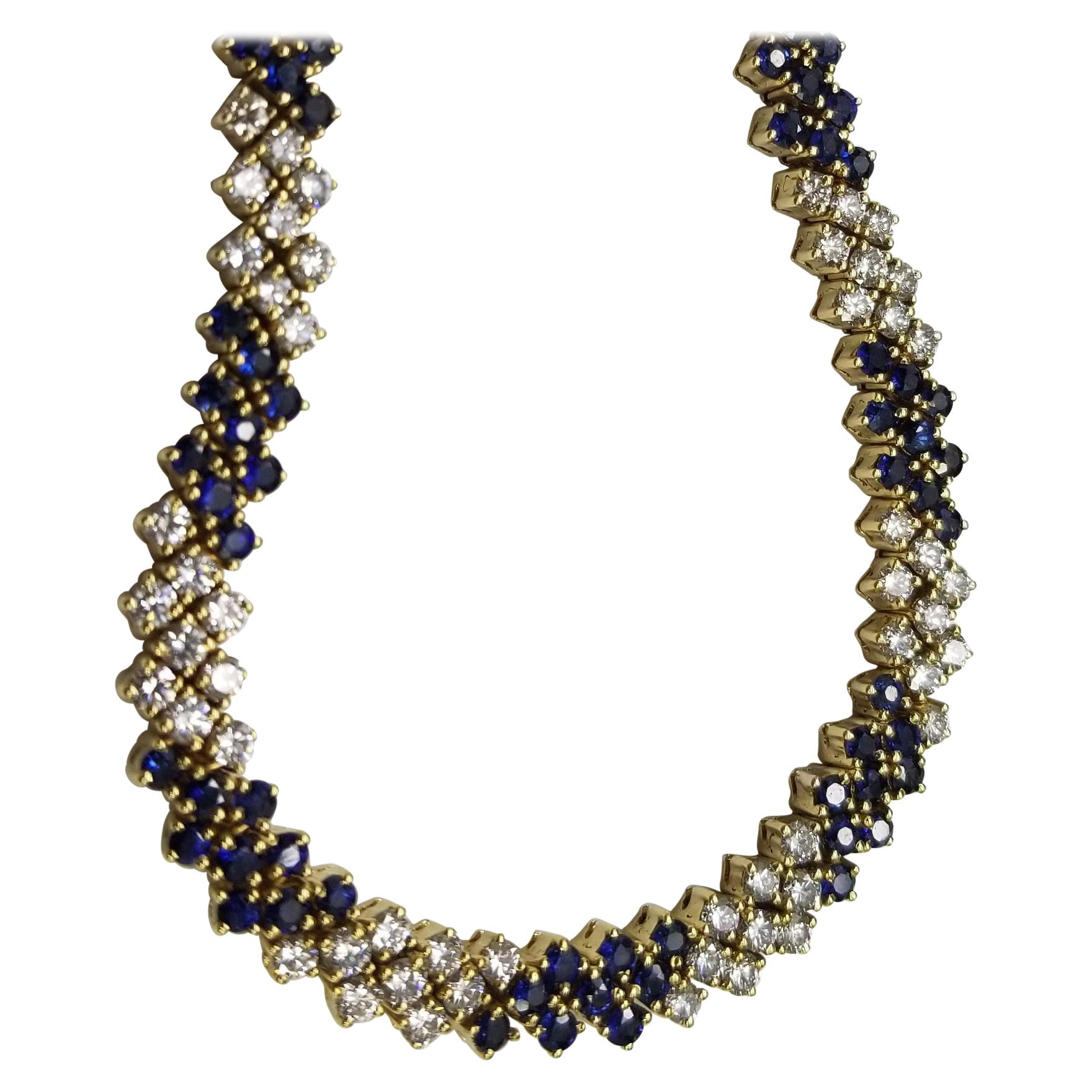 14 Karat Yellow Gold Sapphire and Diamond Wide Mesh Bracelet