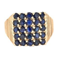 14 Karat Yellow Gold Sapphire Cluster Ring